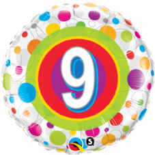 9th Birthday Colourful Dots Foil Balloon
